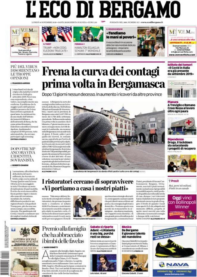 Prima pagina «L'Eco di Bergamo»   Giornali.it