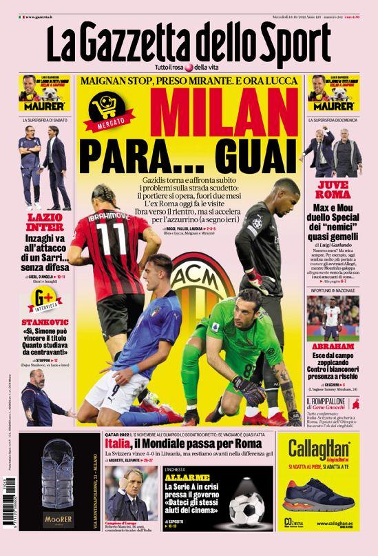 La Gazzetta Dello Sport, prima pagina